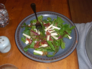 chef spinach salad with cheese and bacon