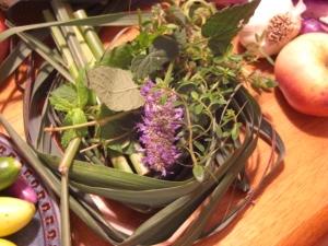 anise hyssop, catnip, spearmint, lemongrass, and Pennsylvania Dutch Tea Thyme