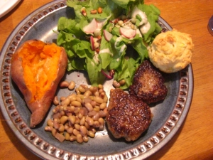 sausage, squash muffin, sweet potato, crowder peas, and salad (lettuce, sorrel, radishes, and sprouts)