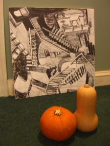 Squash and Pumpkin gaze at great art.