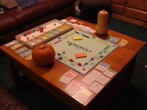 Squash and Pumpkin play Monopoly.