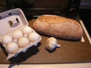 duck eggs, garlic, Magnolia Bread, bread